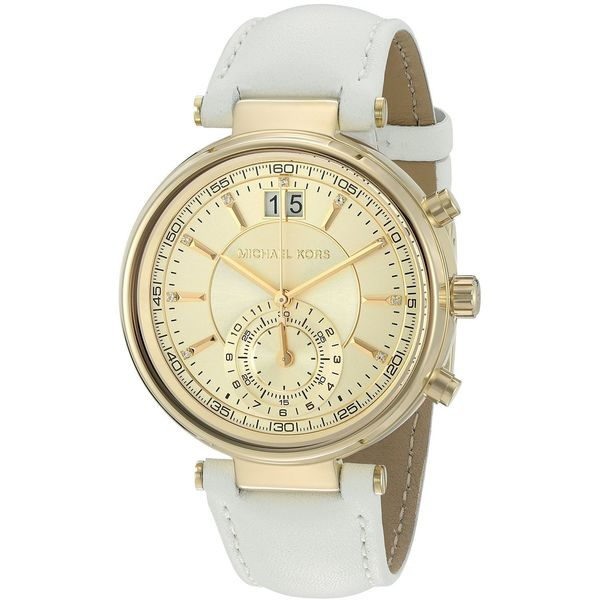 5d331bb284e56 Shop Michael Kors Women s MK2528  Sawyer  Dual Time Crystal White Leather  Watch - Free Shipping Today - Overstock - 12073027