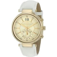 Michael Kors Women's MK2528 'Sawyer' Dual Time Crystal White Leather Watch