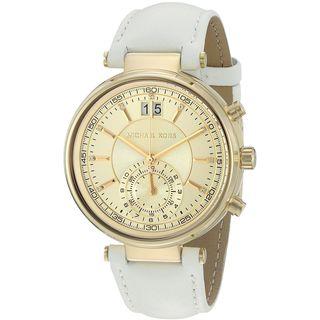 Michael Kors Women's MK2528 'Sawyer' Dual Time Crystal White Leather Watch