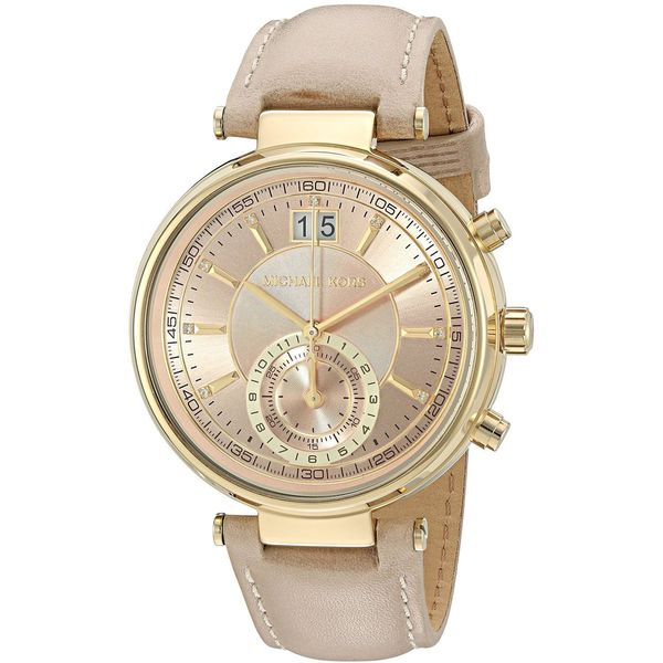 Michael Kors Women's MK2529 'Sawyer' Dual Time Crystal Brown Leather Watch