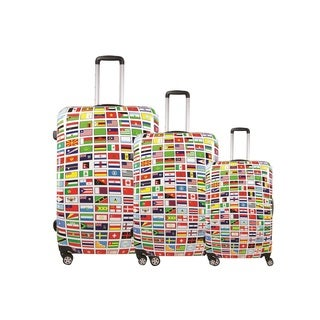 Ful Flags Upright ABS Plastic Hard Case Spinner Rolling Luggage Suitcase 28, 24, and 20-inch 3-piece Luggage Set
