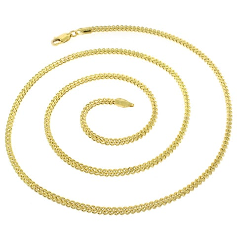 """10k Yellow Gold 2mm Hollow Franco Square Box Link Necklace Chain 16"""" - 32"""""""