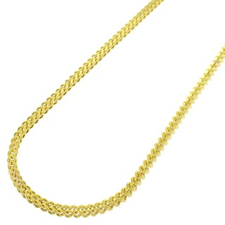 "10k Yellow Gold 2mm Hollow Franco Square Box Link Necklace Chain 16"" - 32"""