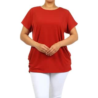 MOA Collection Women's Polyester/Spandex Plus-size Solid Top|https://ak1.ostkcdn.com/images/products/12073051/P18940310.jpg?impolicy=medium