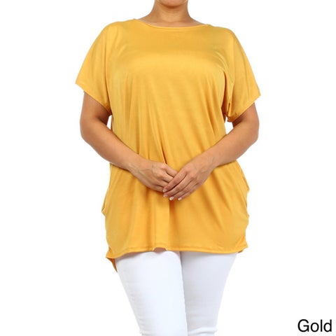 MOA Collection Women's Solid Plus Size Top