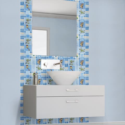 Disney 11.75x11.75-inch Toy Story Blue Glass Mosaic Wall Tile