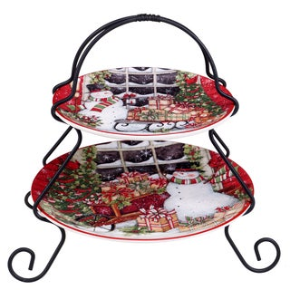 Certified International Snowman's Sleigh 2-tier Server Plate