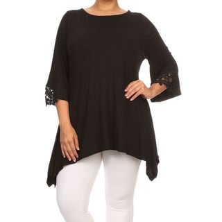 MOA Collection Women's Plus Size Lace Detail Tunic