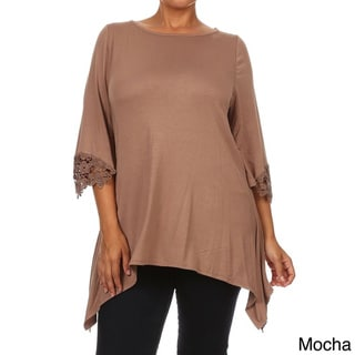 MOA Collection Women's Plus Size Lace Detail Tunic