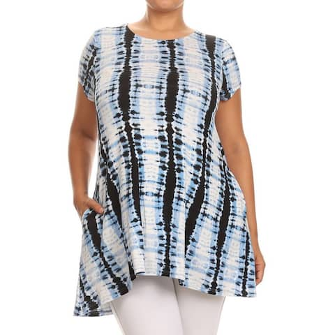 MOA Collection Women's Plus Size Tie-dyed Tunic