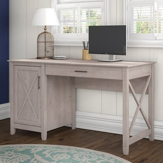 Bush Furniture Key West Collection Washed Grey Single-pedestal Desk