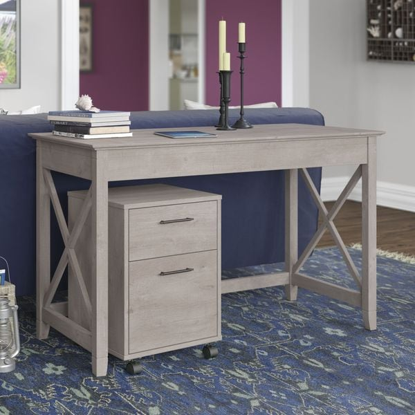Key West Collection Washed Grey 48w Writing Desk With 2