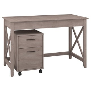 Havenside Home Bellport Washed Grey 48W Writing Desk with 2-drawer Mobile Pedestal