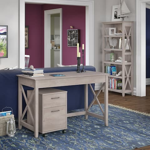 The Gray Barn Byrnes 48-inch Writing Desk with 2-drawer Mobile Pedestal and 5-shelf Bookcase