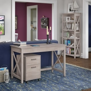 Bush Furniture Key West Collection Grey Washed Finish Laminate/MDF 2-drawer Writing Desk and 5-shelf Bookcase