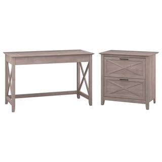 Bush Furniture Key West Collection Washed-grey Writing Desk with Lateral File
