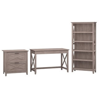 Bush Furniture Grey Laminate, MDF Writing Desk with Lateral File and Bookcase