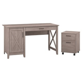 Bush Furniture Key West Collection Single Pedestal Desk with 2-drawer Mobile File Cabinet
