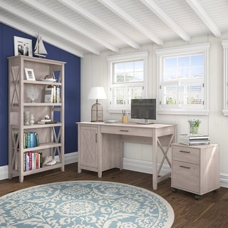 Key West Collection 54W Single Pedestal Desk with 2 Drawer Mobile Pedestal and 5 Shelf Bookcase