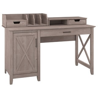 Key West Collection Washed Grey 54W Single Pedestal Desk with Desktop Organizers
