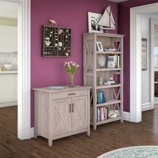 Havenside Home Bellport Laptop Storage Desk Credenza with 5-shelf Bookcase