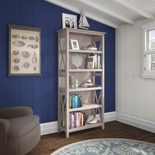 Bush Furniture Key West Collection Washed Gray Laminate and MDF 5-Shelf Bookcase