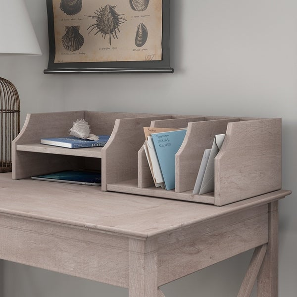 Bush Furniture Key West Collection Desktop Organizer in Washed Gray