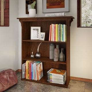 Bush Furniture Mission Creek Collection Antique Cherry Three-shelf Bookcase