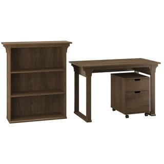 Bush Furniture Mission Creek Collection Rustic Brown Writing Desk with 2-drawer Mobile Pedestal and 3-shelf Bookcase