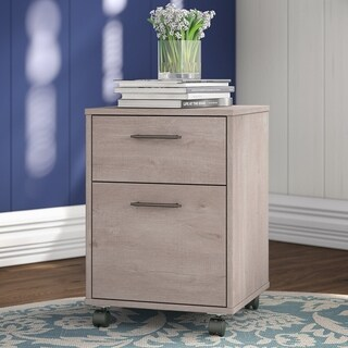 Key West Collection 2 Drawer Mobile Pedestal in Washed Gray
