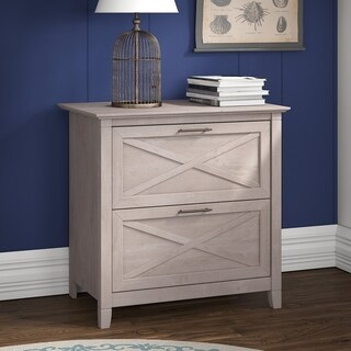Bush Furniture Key West Collection Lateral File in Washed Gray