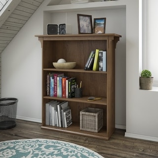 Bush Furniture Mission Creek Collection Antique Finish Brown Laminate and MDF 3-shelf Bookcase