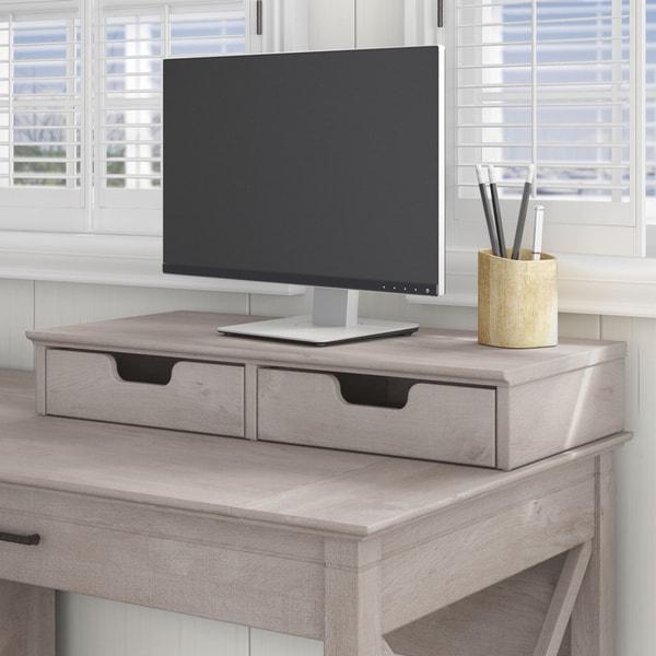 Bush Furniture Key West Collection Washed Grey Desktop Organizer with