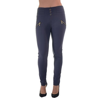 Women's High-waist Scuba Skinny Stretch Zip-up Pants with Front and Back Pockets