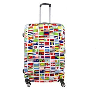 Ful Flags Multicolor ABS 28-inch Fashion Hardside Spinner Upright Suitcase