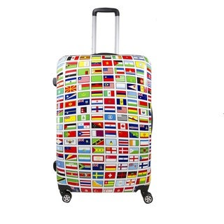 Ful Flags 28-inch ABS Plastic Hard Case Upright Spinner Rolling Luggage Suitcase