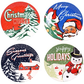 Certified International Retro Christmas 9-inch Dessert Plate with Assorted Designs (Pack of 4)