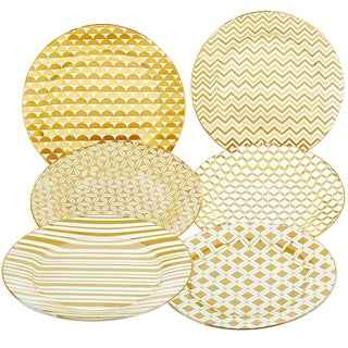 Certified International Elegance Goldplated 8-inch Tapered Dessert Plate with Assorted Designs (Pack of 6)
