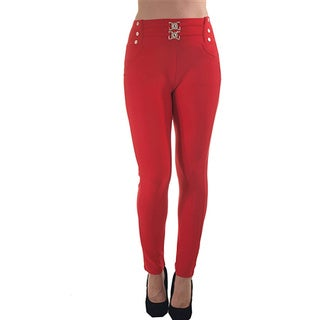 Women's Red Polyester High Waist Scuba Skinny Stretch Pants Zip-up with Front and Back Pockets
