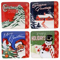 Certified International Retro Christmas 6-inch Canape Plate Assorted Designs (Set of 4)