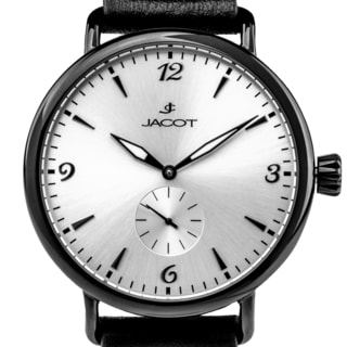 Jacot Men's Vintage Style Automatic Watch, Sub Dial Seconds, Leather Strap, Exhibition Caseback