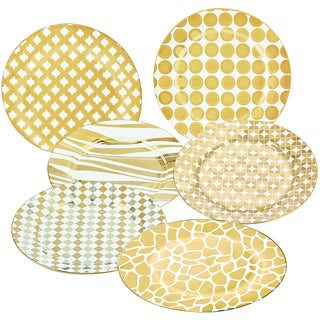 Certified International Goldplated 8-inch Barrel Dessert Plate with Assorted Designs (Pack of 6)