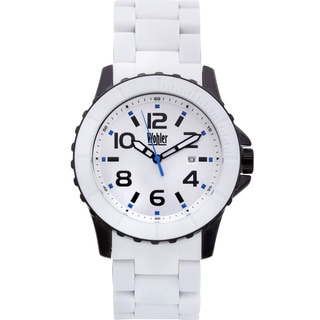 Wohler Wolfgang Men's Quartz Watch Silicone Coated IP Metal Bracelet and Bezel