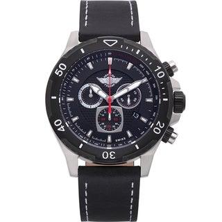 Zentler Freres Rodan pilot style mens Swiss quartz chronograph watch, Sapphire crystal, leather strap