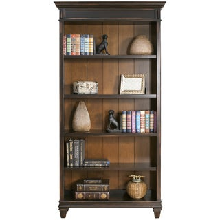 Hatherford Hand-rubbed Black Wood 4-shelf Bookcase