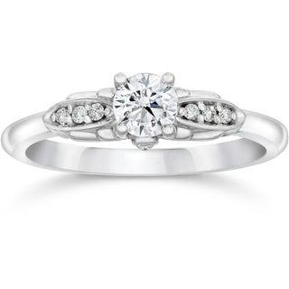 14k White Gold 1/2ct TDW Diamond Vintage Engagement Ring