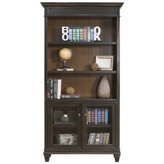 Hatherford Hand Rubbed Black Wood Library Bookcase