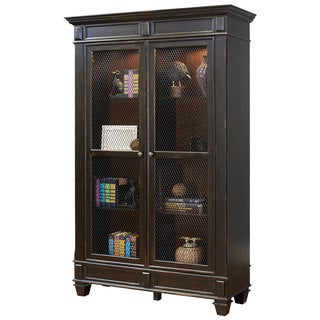 Hatherford Black Paint Finish Wood Wire-mesh Door Library Bookcase