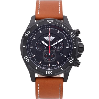 Zentler Freres Rodan pilot style mens Swiss quartz chronograph watch, Sapphire crystal, leather strap