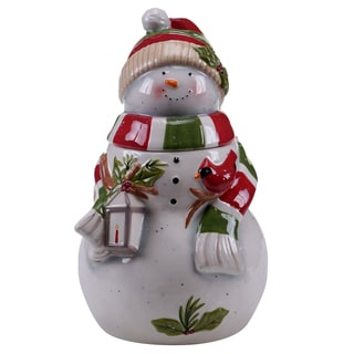 Certified International Snowman's Sleigh 3D 11-inch Cookie Jar